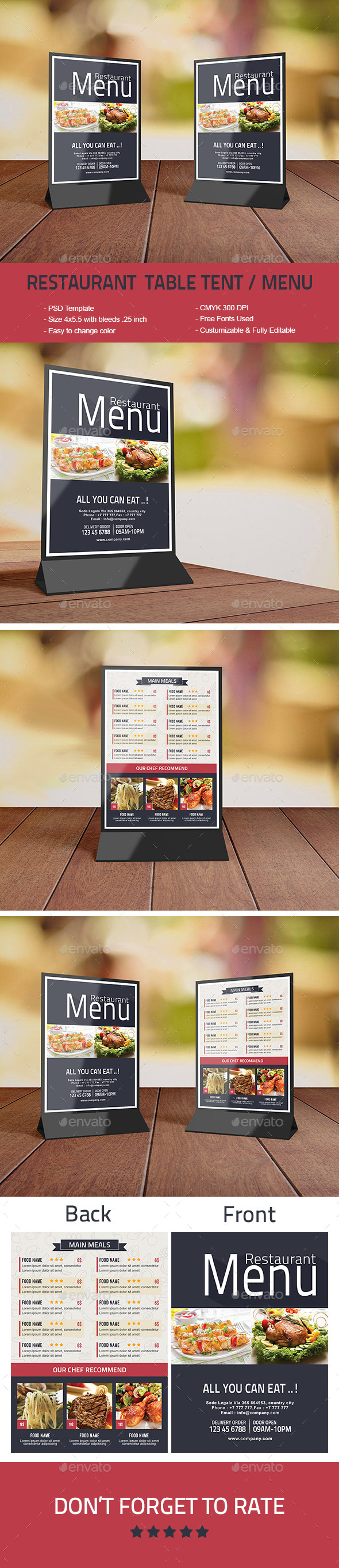 Restaurant Table Tent / Menu - Food Menus Print Templates