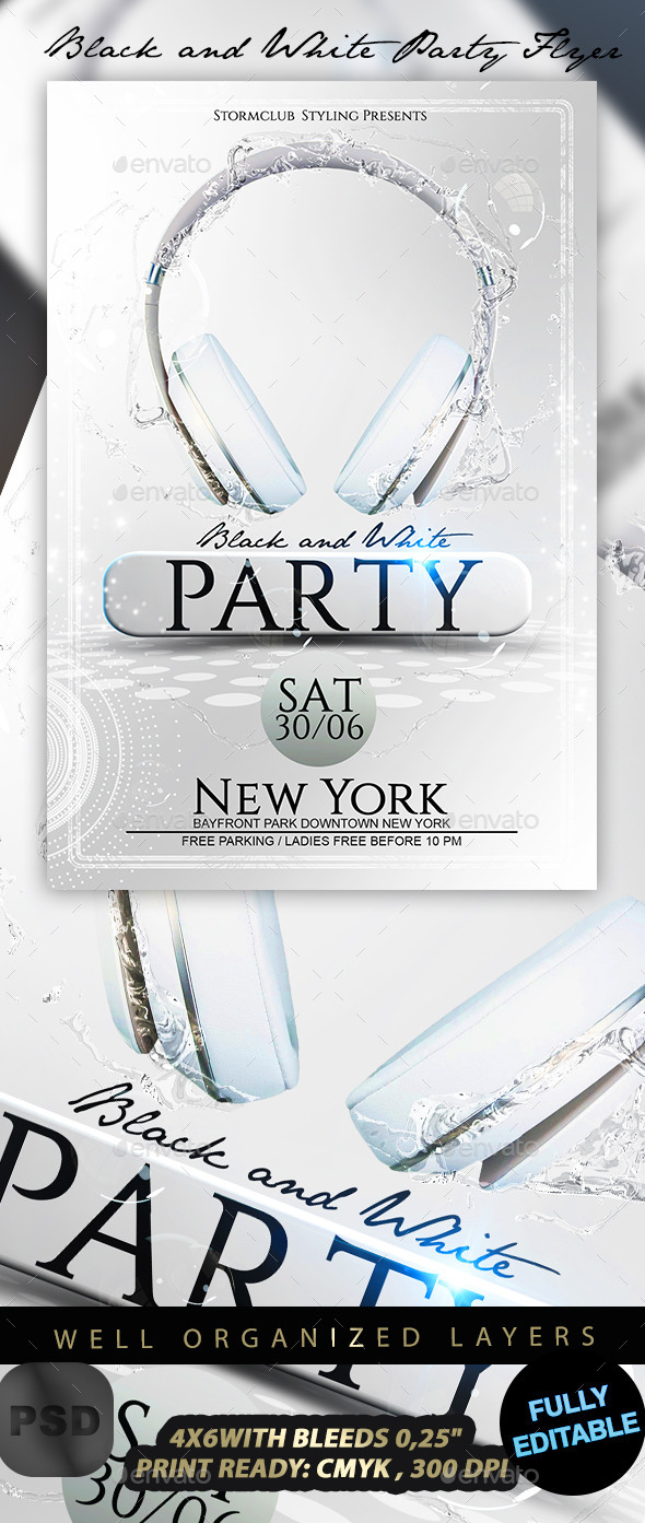 Black and White Party Flyer - Events Flyers