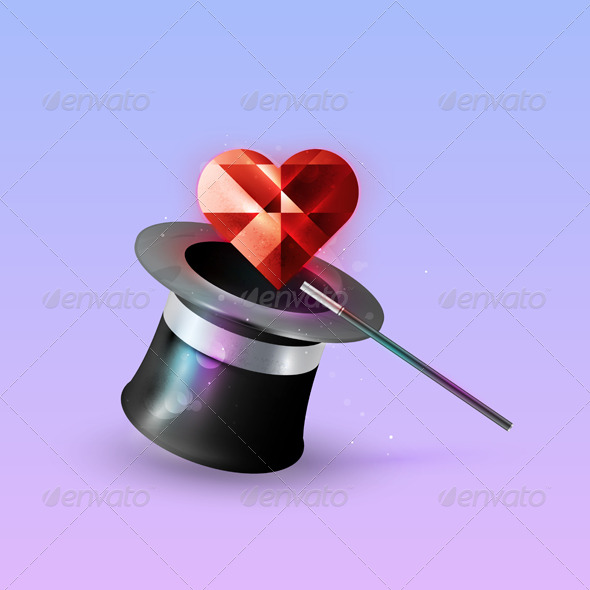 Icon red heart comes out of a hat magician.  - Valentines Seasons/Holidays