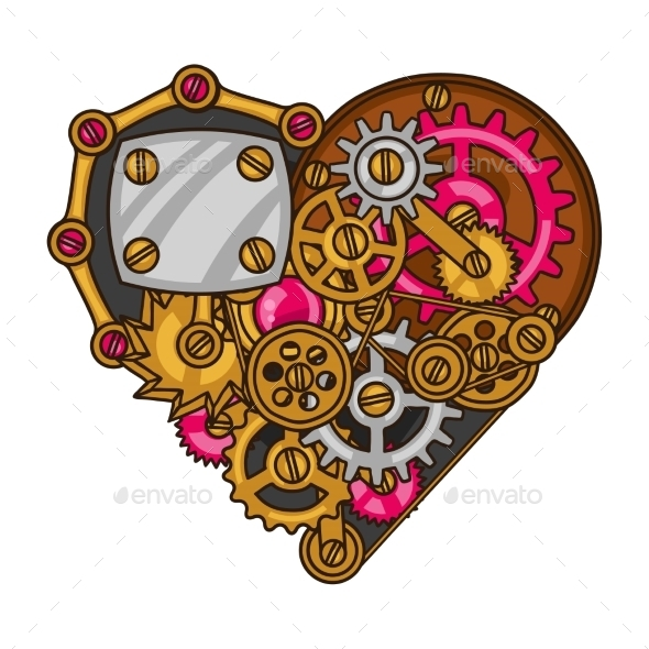 Steampunk Heart Collage of Metal Gears - Abstract Conceptual