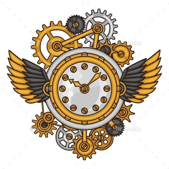 Steampunk Clock Collage of Metal Gears - Abstract Conceptual