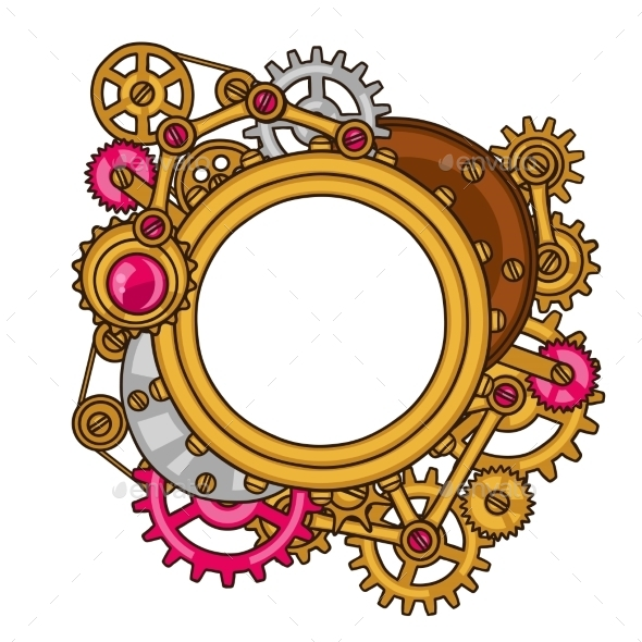 Steampunk Frame Collage of Metal Gears - Abstract Conceptual