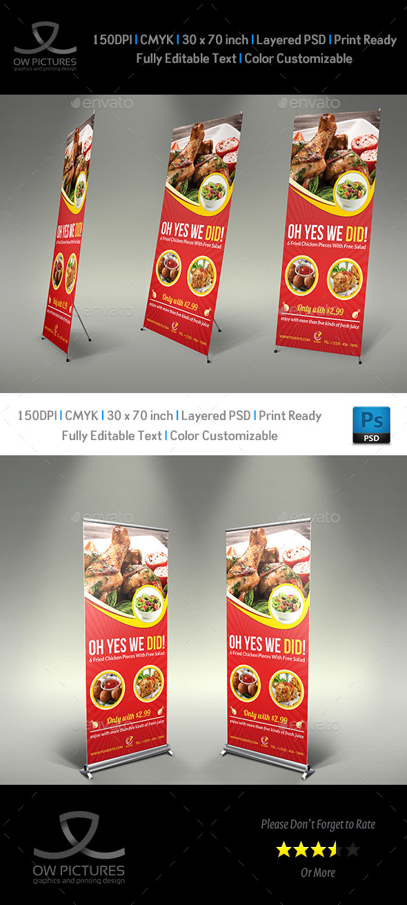 Restaurant Rollup Signage Template Vol3 - Signage Print Templates