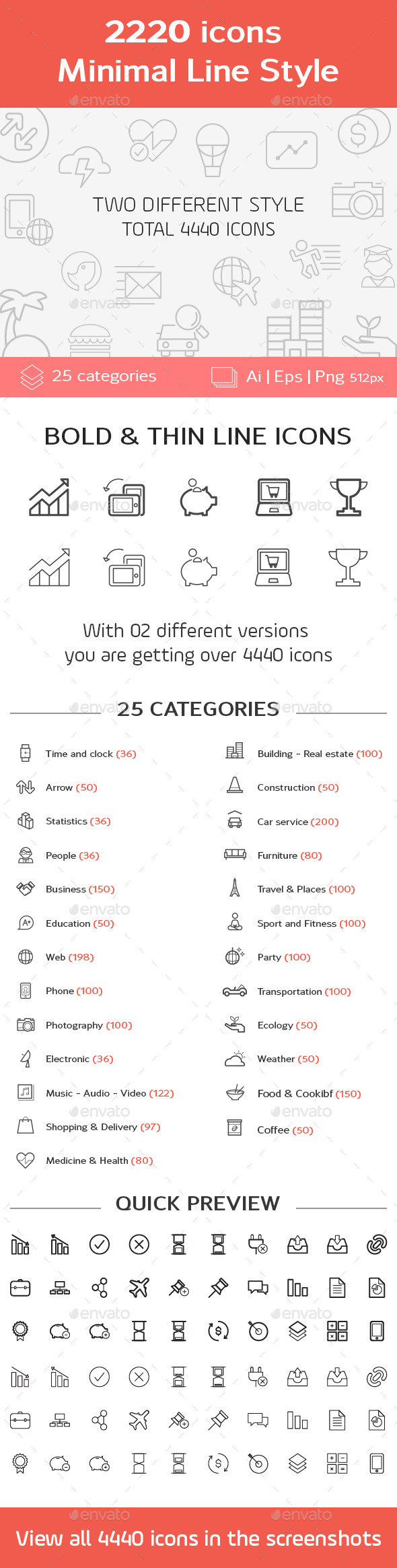 2220 Minimal Line Icons - Icons