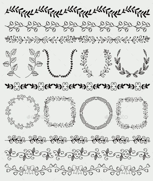 Black Hand Sketched Seamless Borders - Borders Decorative