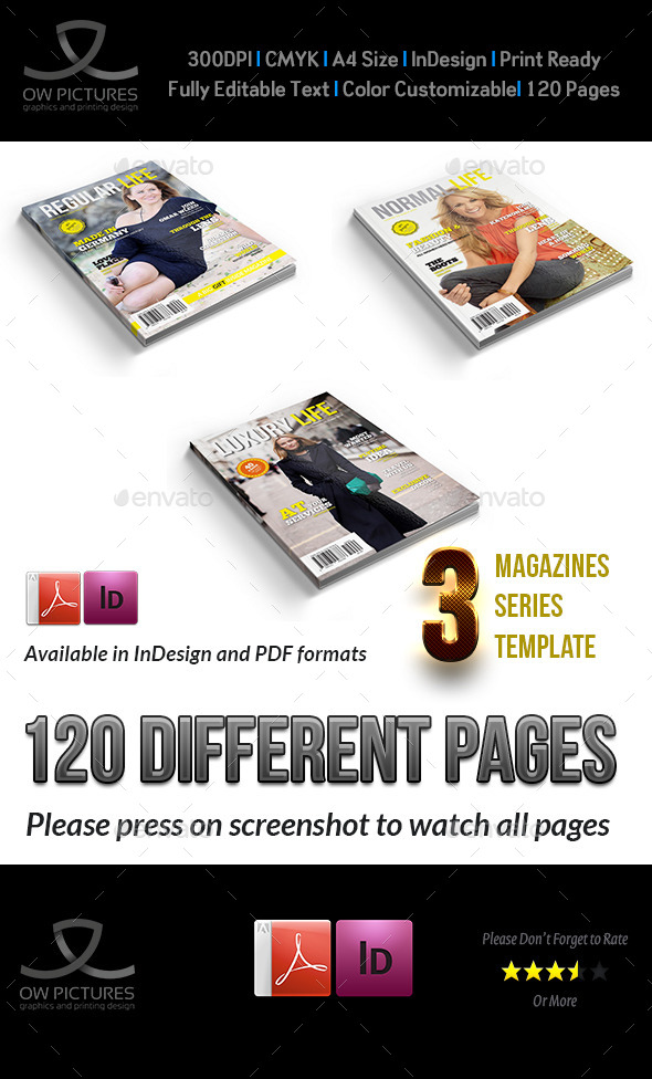 3 Series Magazines Bundle Template - 120 Pages - Magazines Print Templates