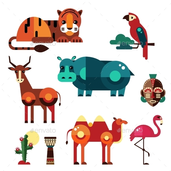 Geometric Flat Africa Animals and Plants - Animals Characters