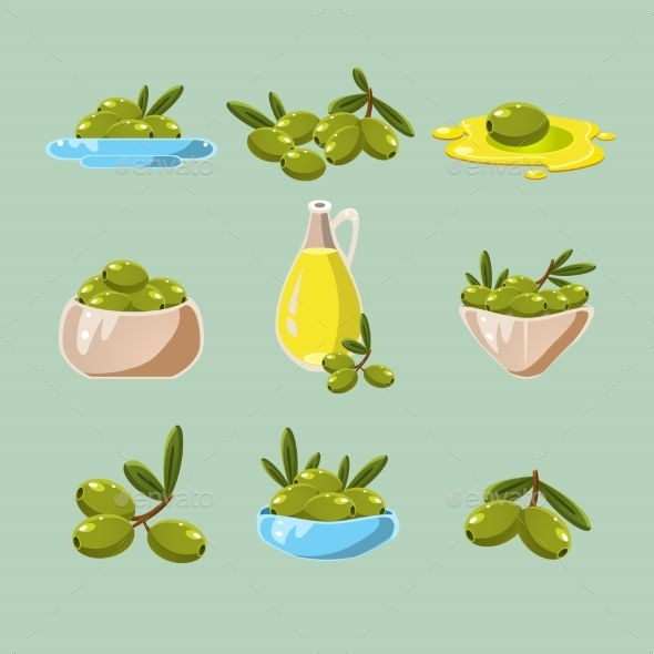 Green Olives Vector - Food Objects