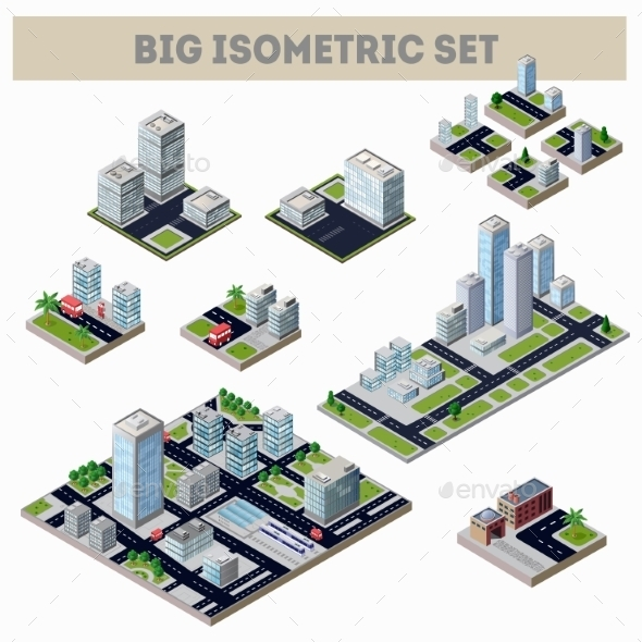 A Large Set Of Isometric City - Buildings Objects