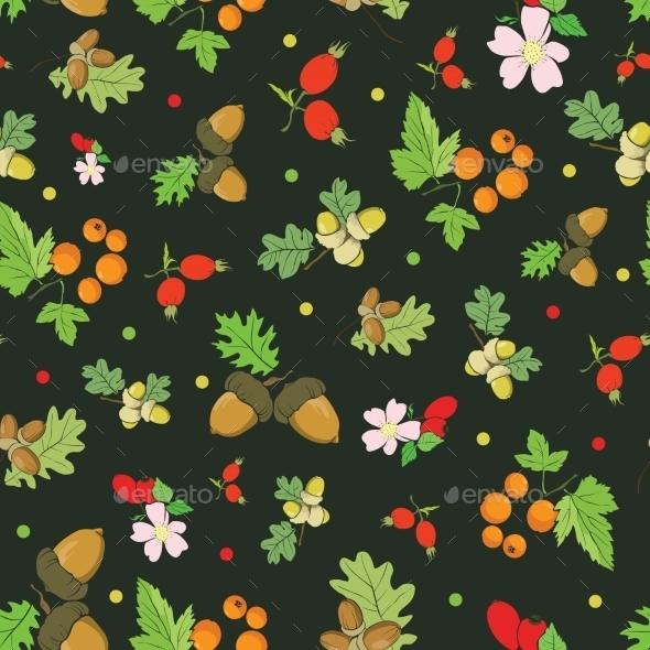 Vector Vintage Fall Berries Nuts On Dark Green - Flowers & Plants Nature