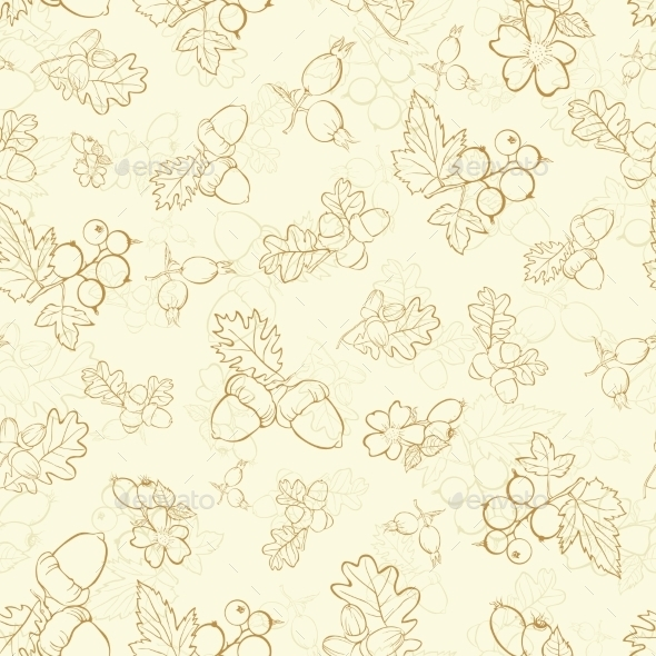 Vector Vintage Beige Berries Nuts Drawing Seamless - Backgrounds Decorative