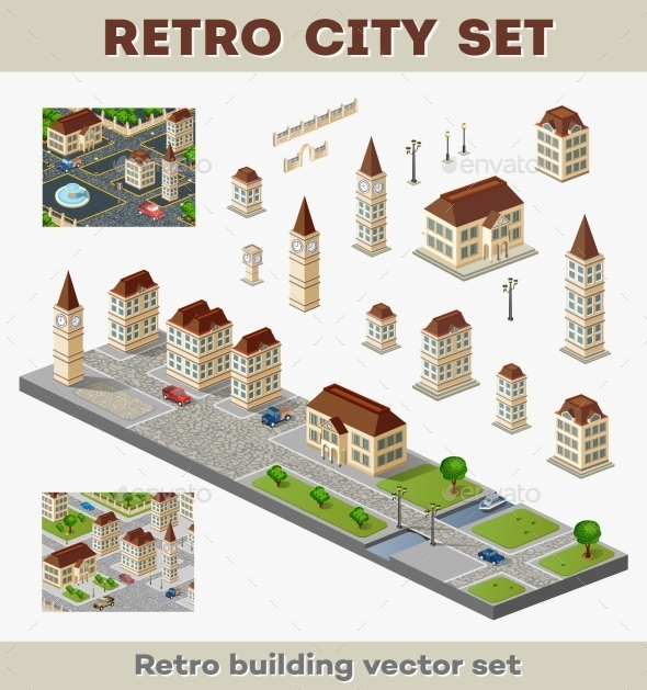 Retro Buildings  - Buildings Objects