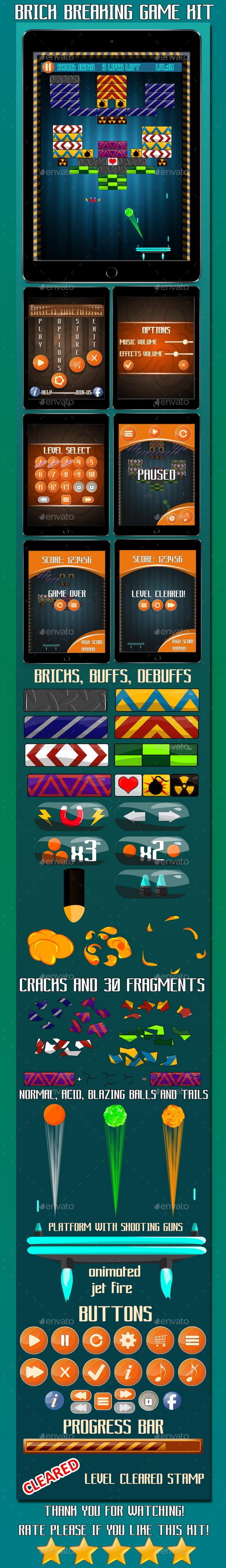 Brick Breaking Game Kit - Game Kits Game Assets