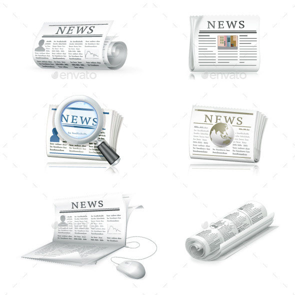 Newspapers Business Icons - Communications Technology