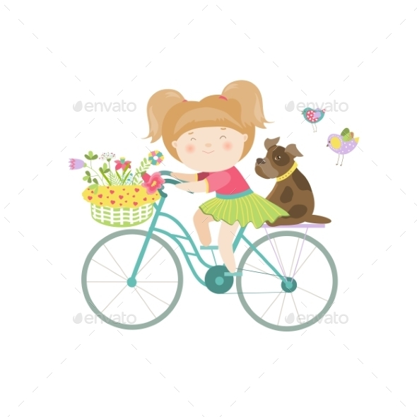 Girl In Dress Rides a Bike - People Characters