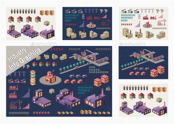 Set Of Infographic - Buildings Objects