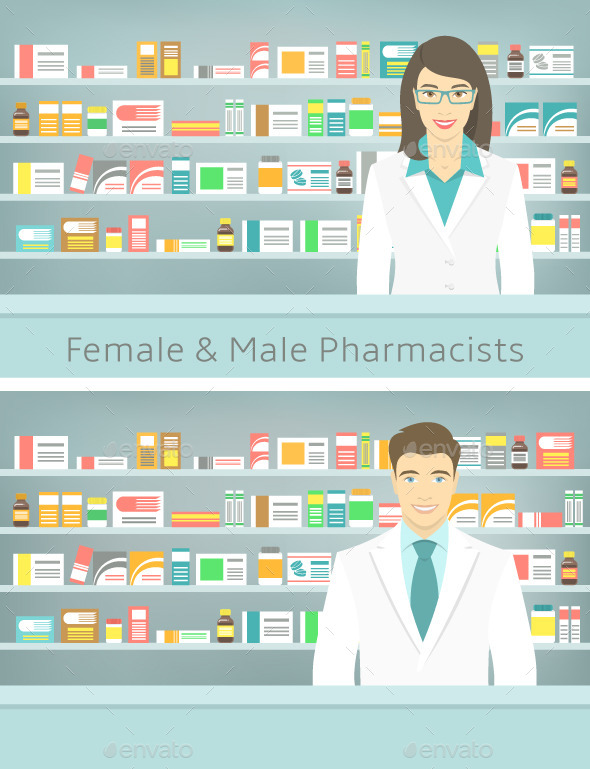 Flat Style Young Pharmacists at Pharmacy  - People Characters