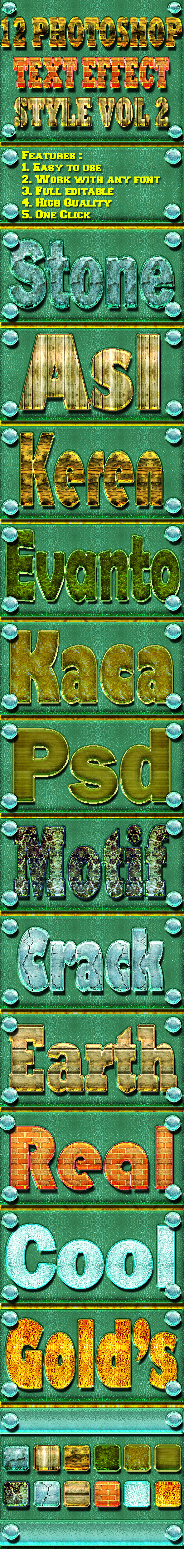 12 Photoshop Text Effect Style Vol 2 - Text Effects Styles