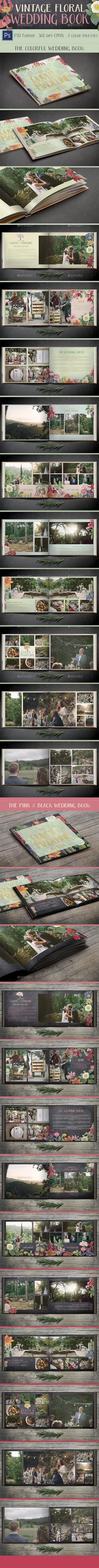 Vintage Floral Wedding Photo Book - Photo Albums Print Templates