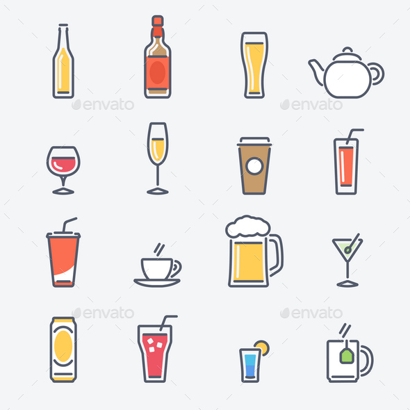 16 Drinks Icons - Objects Vectors