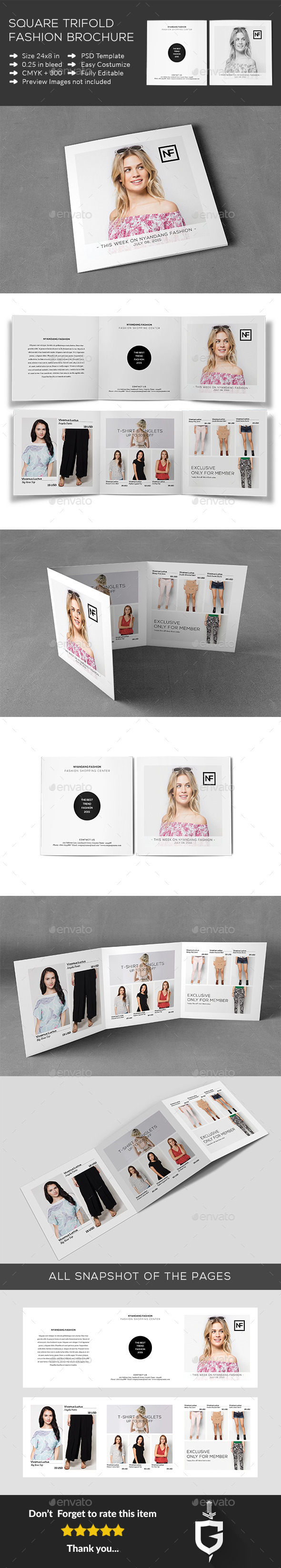 Square Trifold Fashion Brochure - Catalogs Brochures