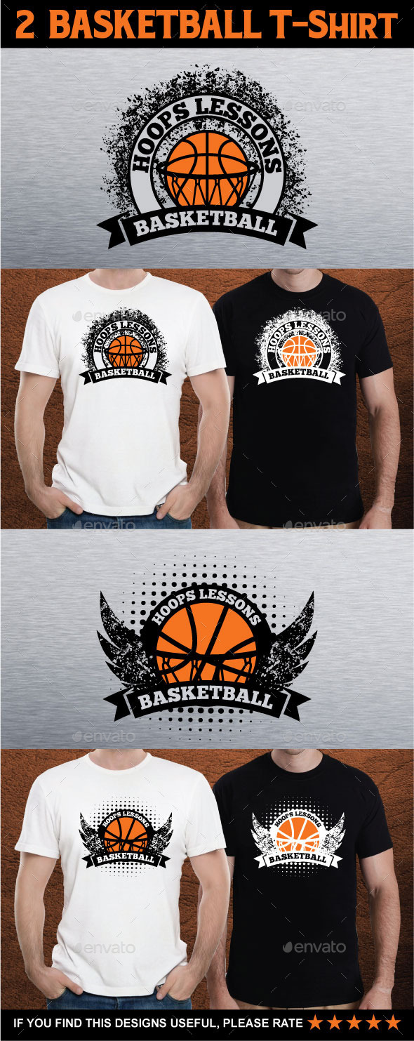 2  BASKETBALL T-Shirt - Grunge Designs