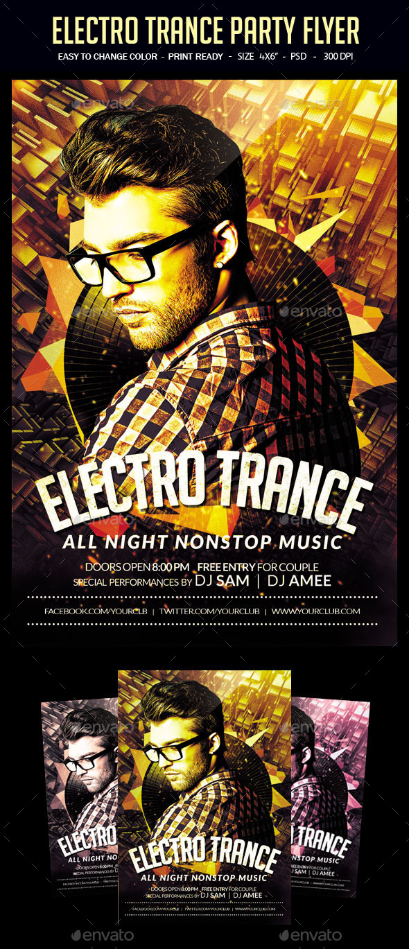 Electro Trance Party Flyer - Clubs & Parties Events