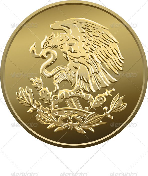 Vector Mexican Money Gold Coin with the Eagle - Concepts Business