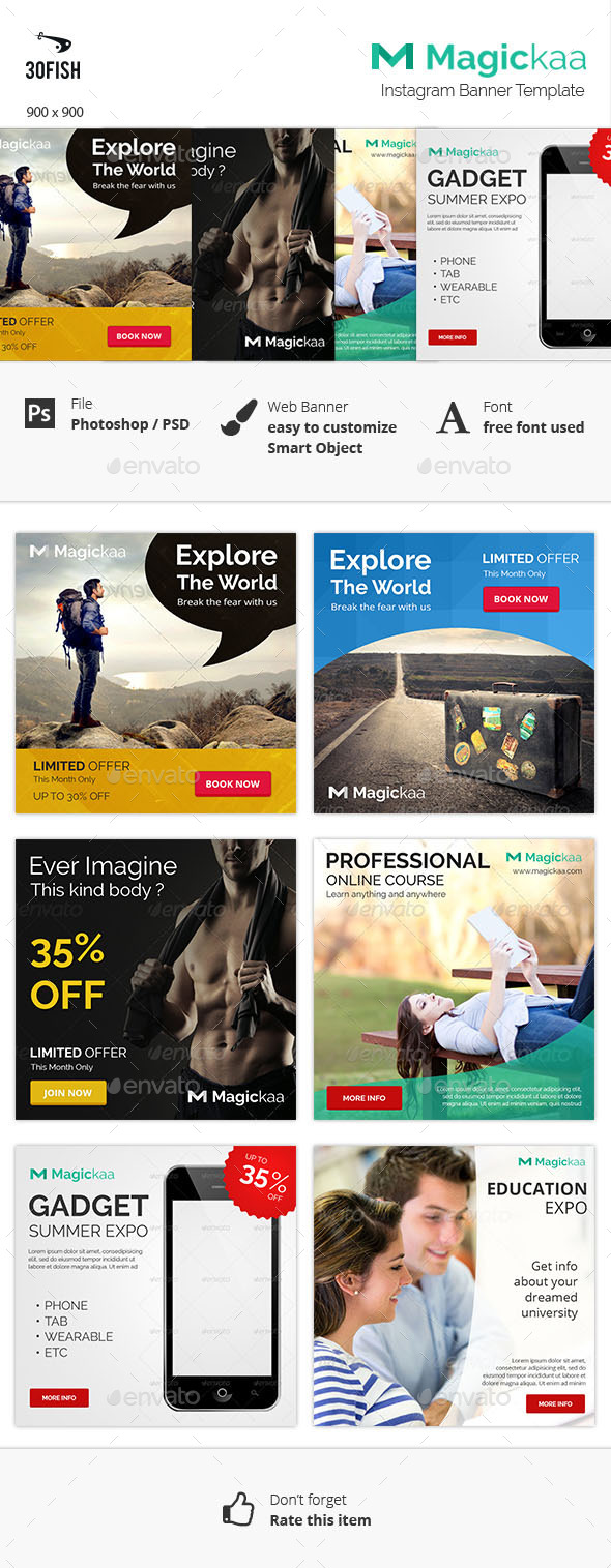 Magickaa Instagram 2 Banner - Banners & Ads Web Elements