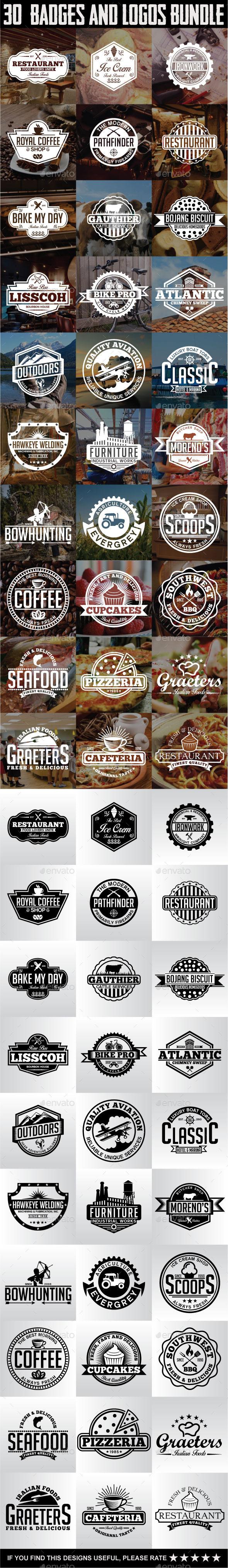 30 Badges and Logos Bundle - Badges & Stickers Web Elements