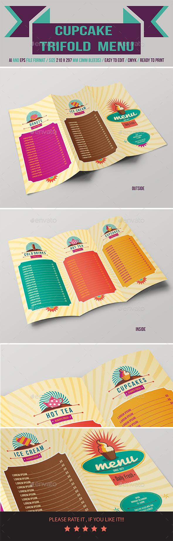 Cupcake Menu - Food Menus Print Templates