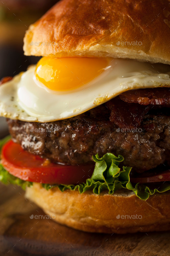 Homemmade Bacon Hamburger with Egg - Stock Photo - Images