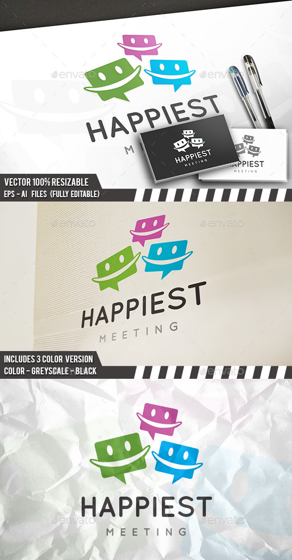 Happy Chat Logo - Humans Logo Templates