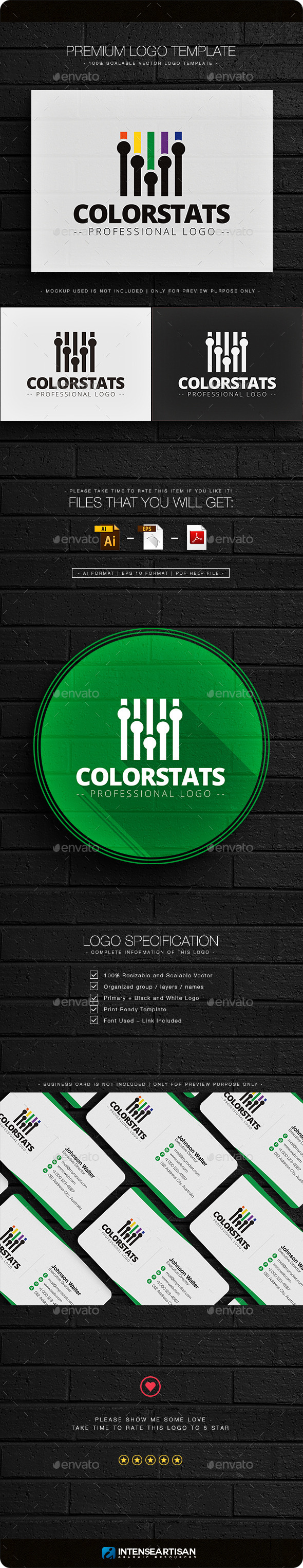 Color Stats Logo Template - Objects Logo Templates