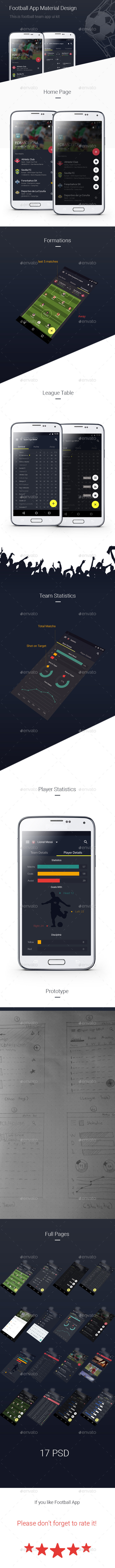 Football App Ui Kit  Material Design - User Interfaces Web Elements