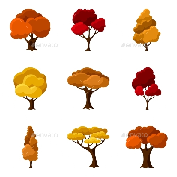 Set Of Autumn Abstract Stylized Trees. Natural - Landscapes Nature