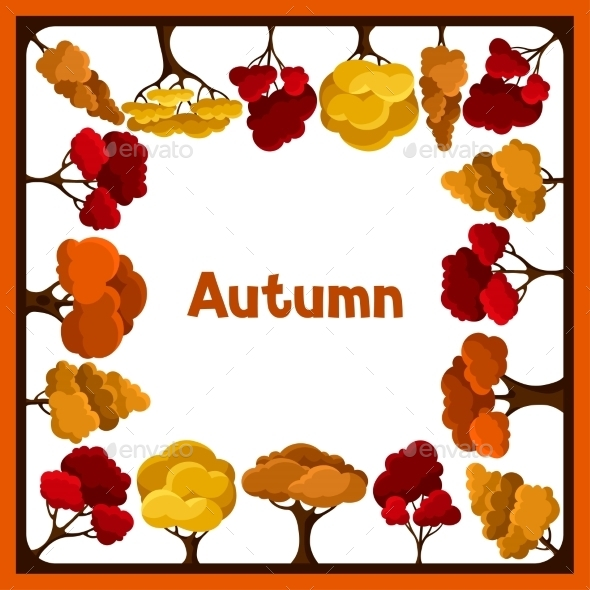 Autumn Background Design With Abstract Stylized - Landscapes Nature