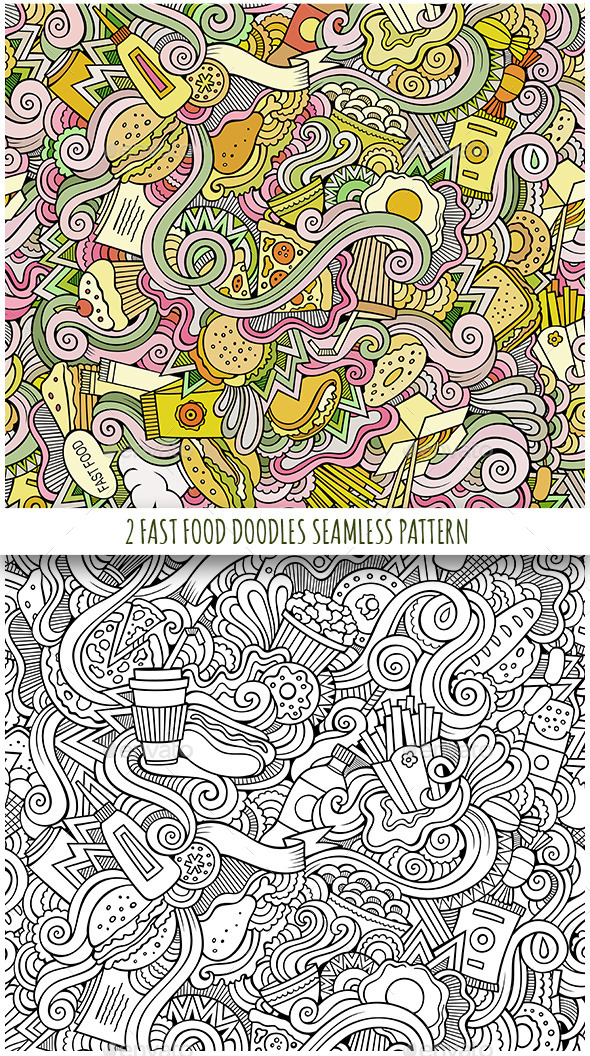 2 Fast Food Doodles Seamless Patterns - Food Objects