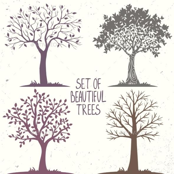 Trees Set - Seasons Nature