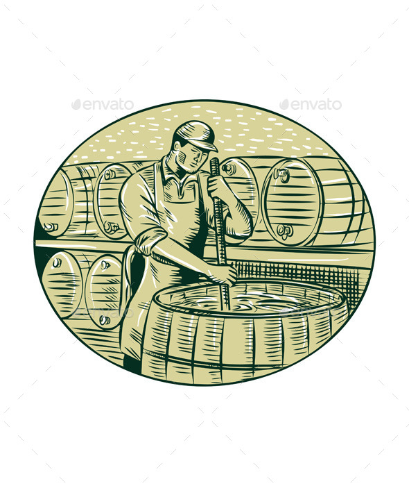 Brewer Brewing Beer Etching - People Characters