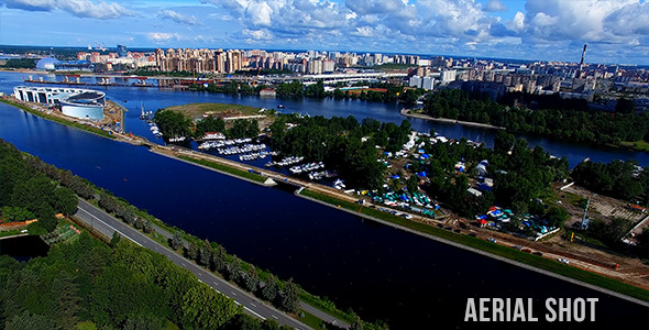 Delta Of The Neva River Aerial Shot