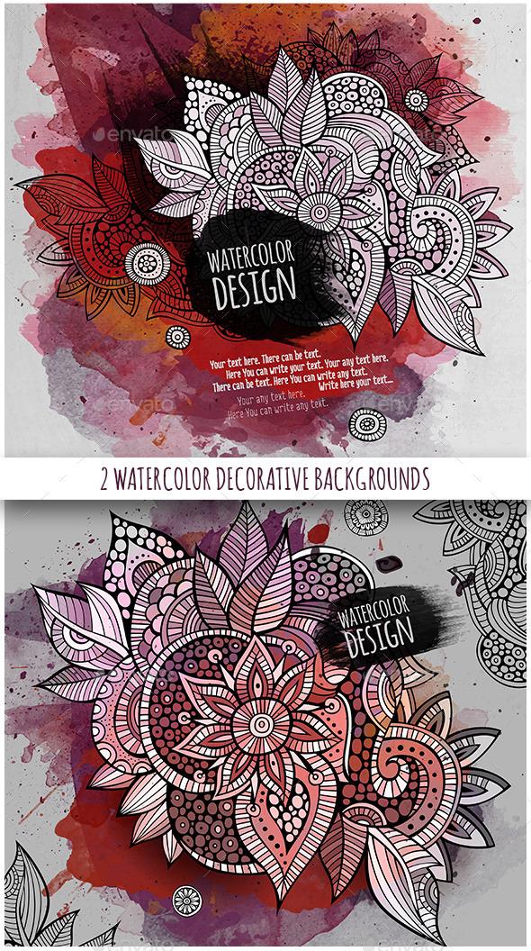 2 Watercolor Floral Background - Flourishes / Swirls Decorative