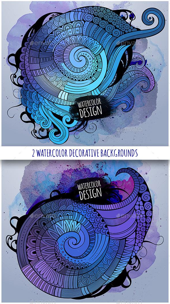 2 Watercolor Decorative Background - Decorative Vectors