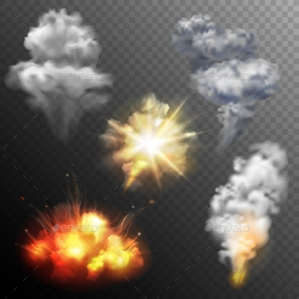 Firework Explosions Shapes Set - Organic Objects Objects