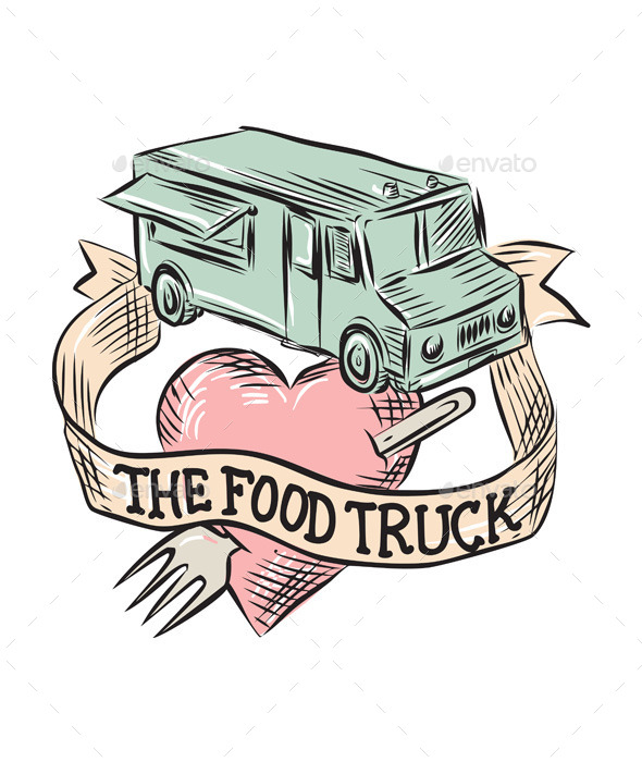 Food Truck Heart Fork Etching - Man-made Objects Objects