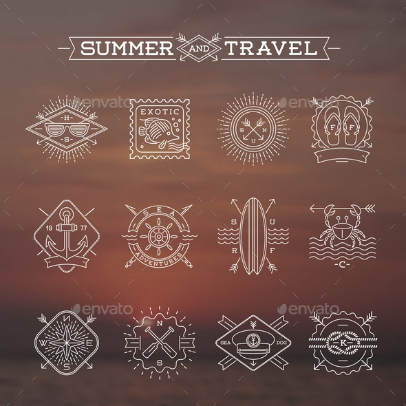 Summer and Travel Signs and Symbols - Travel Conceptual
