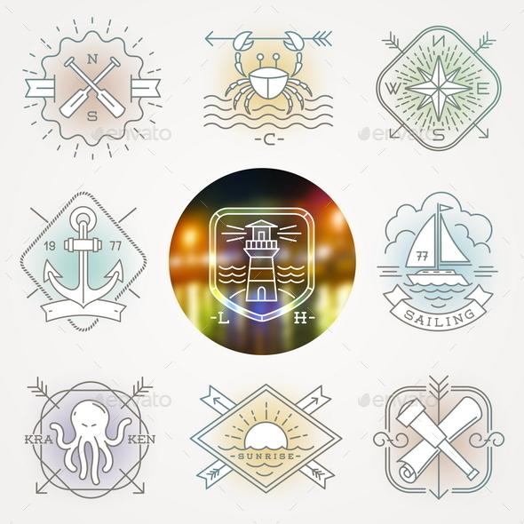Nautical, Adventures and Travel Emblems - Travel Conceptual