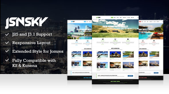 JSN Sky – Responsive Hotel Theme & Jomres support