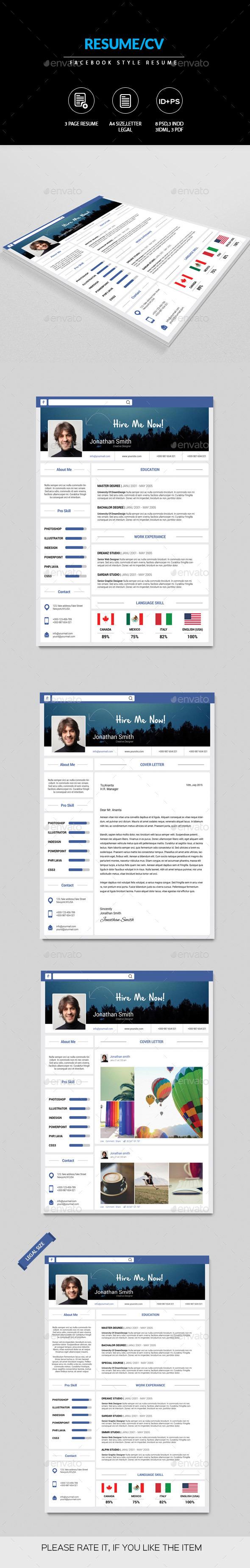 Creative Facebook Style Resume - Resumes Stationery