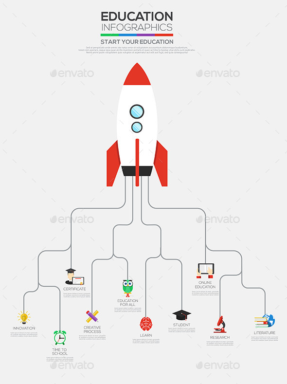 Flat Infographic Education Rocket - Infographics